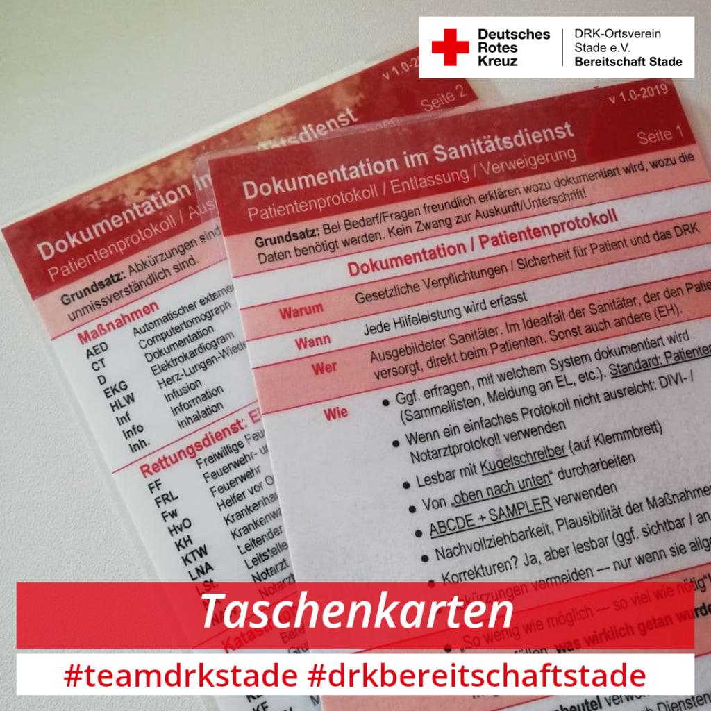 Taschenkarten Dokumentation im Sanitätsdienst